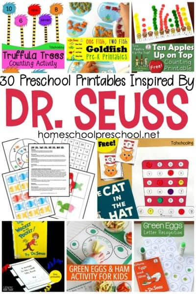 Make practicing letters and numbers for fun with these Dr Seuss preschool worksheets! They are the perfect addition to your homeschool preschool plans!