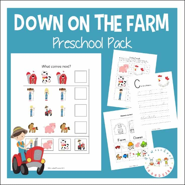 FREE farm theme preschool learning pack! These printables focus on colors, alphabet, and math with a fun farm theme. Perfect for summer preschool lessons!