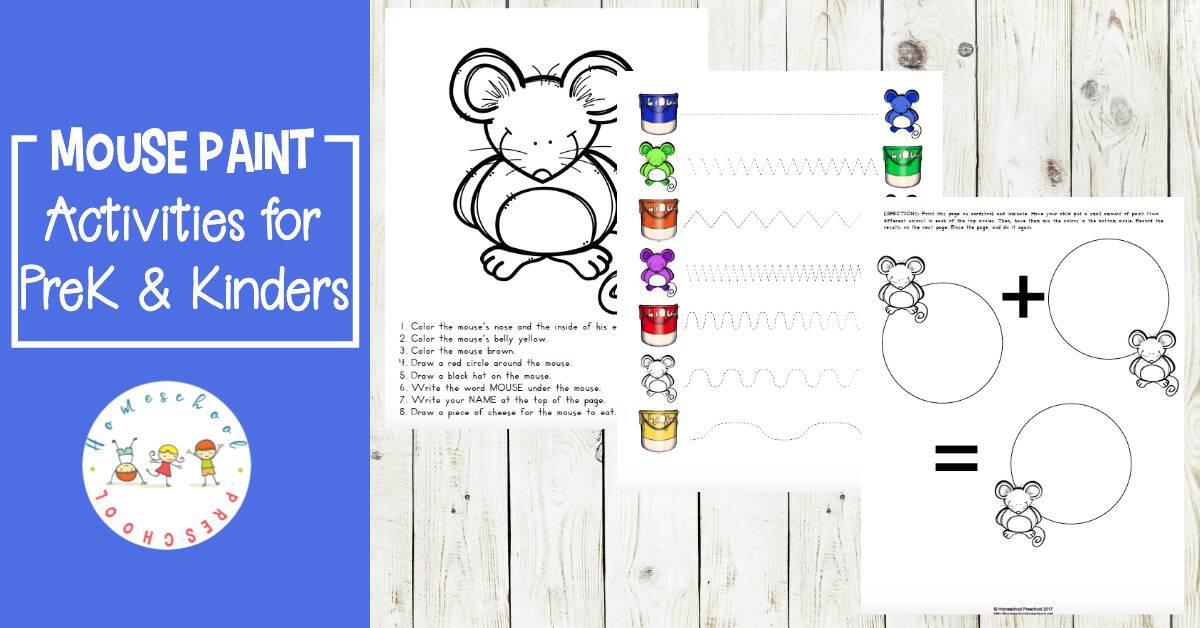 These Mouse Paint preschool activities are great follow-ups to reading Ellen Stoll Walsh's story about three white mice and some jars of paint.