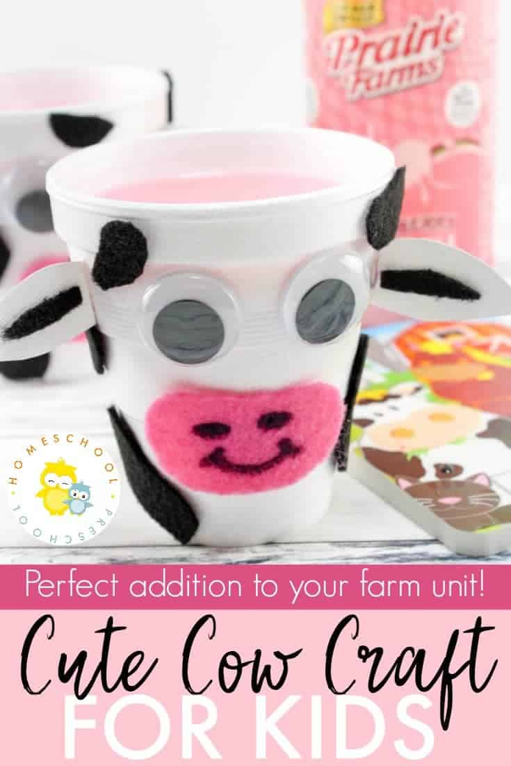This cow craft is perfect for your farm preschool unit. With just a few simple household items, your preschoolers will transform a cup into a cute little cow.