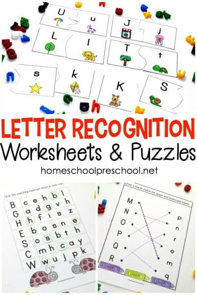 Download this set of free letter recognition alphabet worksheets. They'll help your young learners practice letter matching, handwriting, and more.