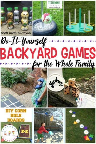 Take Family Game Night to a whole new level with these DIY backyard games the whole family can enjoy including croquet, tetherball, ring toss, and more!
