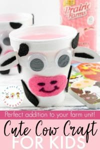 This cow craft is perfect for your farm preschool unit. With just a few simple household items, your preschoolers will transform a simple styrofoam cup into a cute little cow.