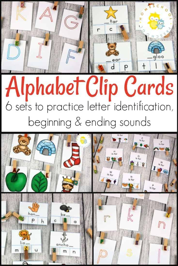 Help your preschoolers practice their ABCs with six sets of alphabet clip cards. These cards focus on letter identification, beginning sounds, and ending sounds.