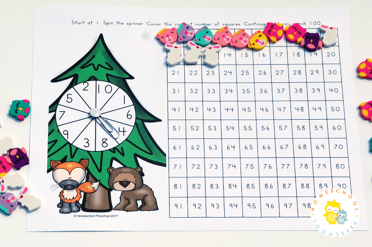 This printable forest-themed hundreds chart is a great way to get kids to practice counting to 100. It's a brand new game each time kids play!