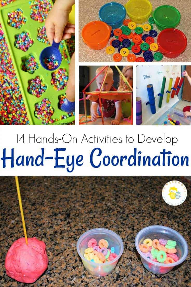 Come discover fourteen activities to strengthen hand-eye coordination for toddlers and preschoolers. All of these hands-on ideas feature play-based learning! #motorskills #preschoolers