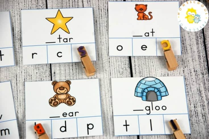 Help your preschoolers practice their ABCs with six sets of alphabet clip cards. These cards focus on letter identification, beginning sounds, and ending sounds,