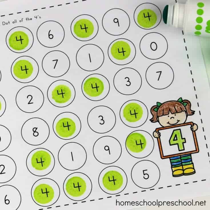 Preschool Number Identification 1-10 Dot Pages