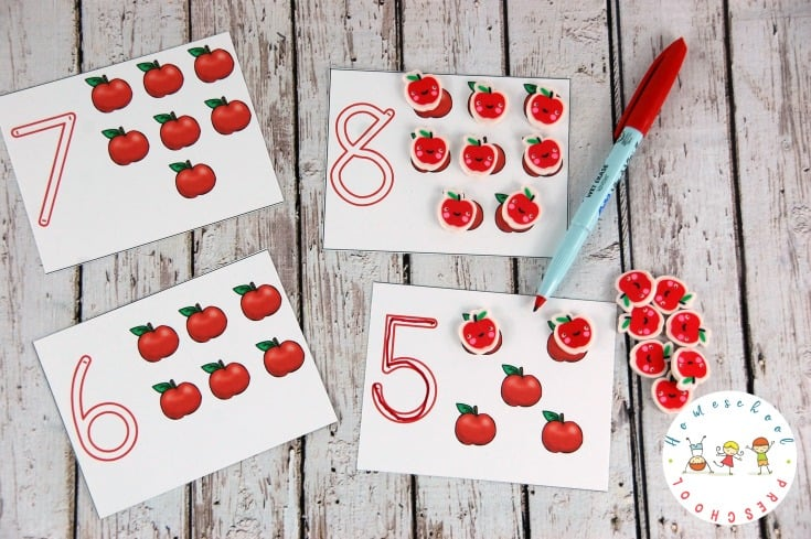 Your preschoolers will love practicing counting to ten with these apple math activities. There are four engaging activities to choose from!