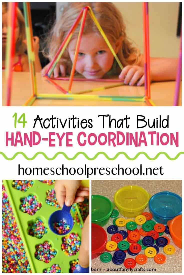 Discover 14 activities to strengthen hand eye coordination. All of these hand eye coordination activities feature play-based learning! #homeschoolprek #handeyecoordination #eyehandcoordination #finemotorskills #grossmotorskills