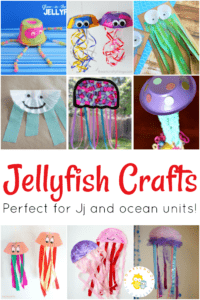 Grab some coffee filters, cupcake liners, buttons, and other supplies to create fun jellyfish crafts. These are perfect for your homeschool preschool lessons.