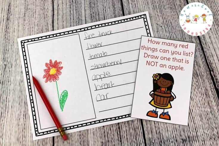 September always makes me think of apples. If you're focusing on apples in your homeschool preschool, be sure to include these apple-themed writing task cards.