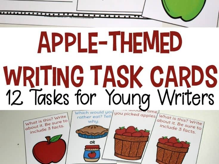 September always makes me think of apples. If you're focusing on apples in your homeschool preschool, be sure to include these apple theme task cards in your writing center.