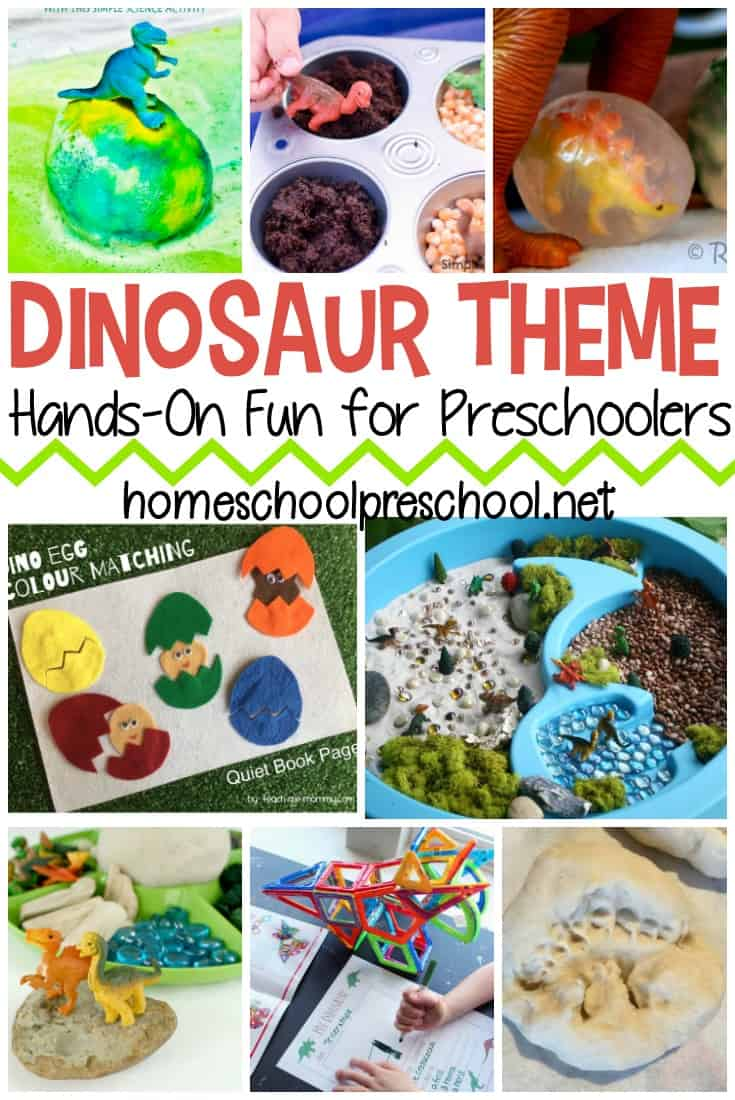 If you have a preschooler that is interested in dinosaurs, why not take that interest and turn it into a dinosaur preschool theme in your homeschool!