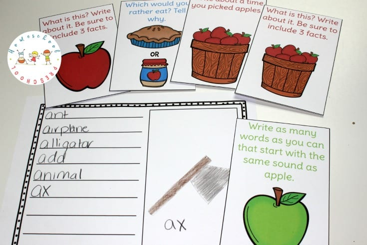 If you're focusing on apples in your homeschool preschool, be sure to include these apple theme task cards in your writing center.