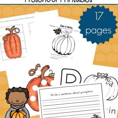 Pumpkin Patch Printable Activities for Preschoolers