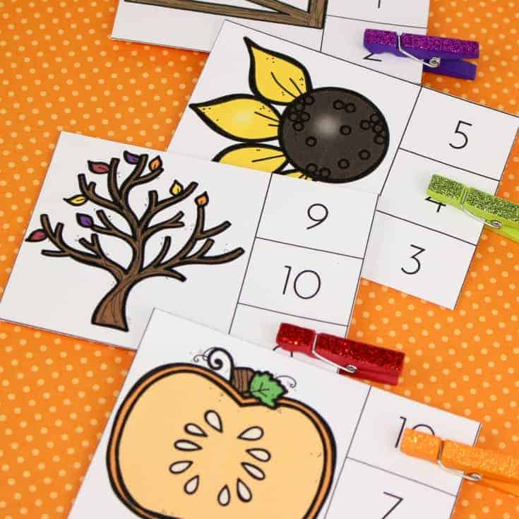 Autumn Count and Clip Cards Bundle