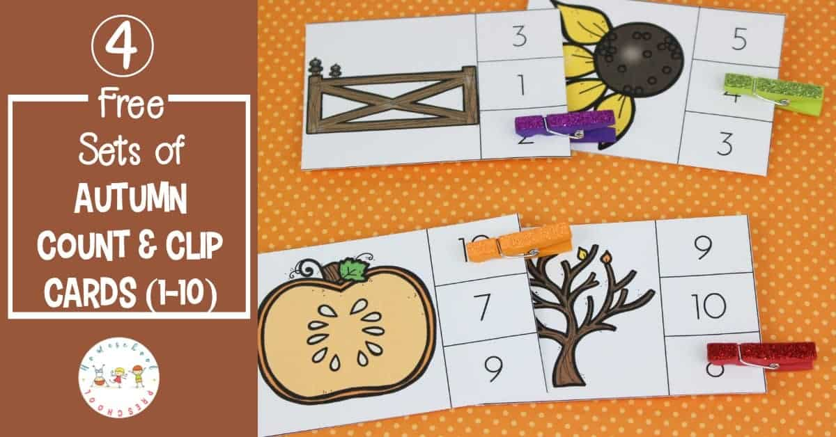 Fill your preschool math centers with these autumn count and clip cards. Crows, pumpkins, sunflowers, and leaves adorn the cards in this printable bundle!