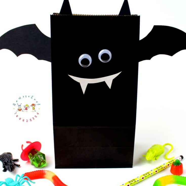 DIY Halloween Treat Bags Bat with Printable Template