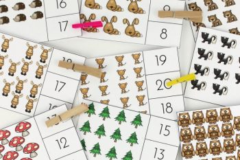 Preschool Printable Forest Count and Clip Cards