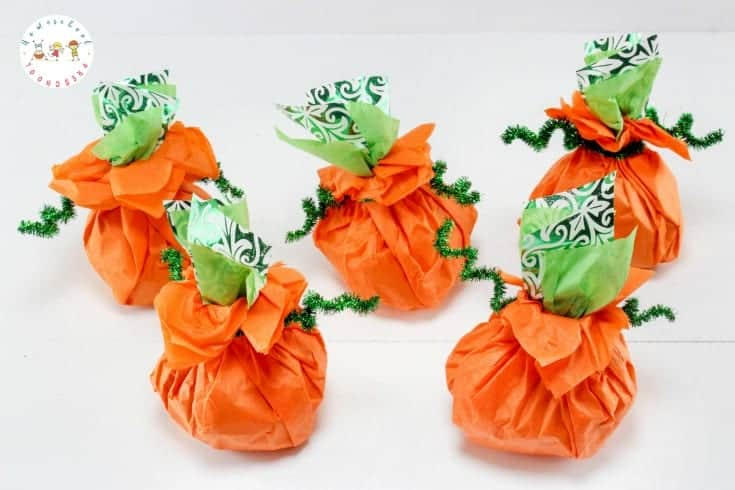Candy stuffed pumpkins will make cute centerpieces at your autumn celebrations. The best part is that they're simple enough for kids to do!