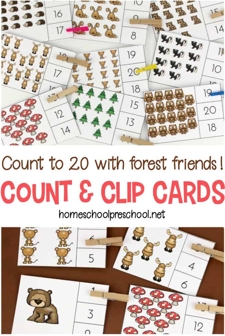 Preschoolers can practice counting to twenty with these forest-themed count and clip cards. A preschool counting printable that works fine motor skills, too!