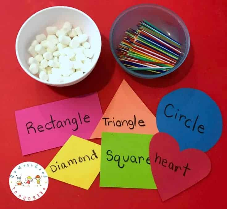 Preschool STEM: Building Shapes with Marshmallows and Toothpicks