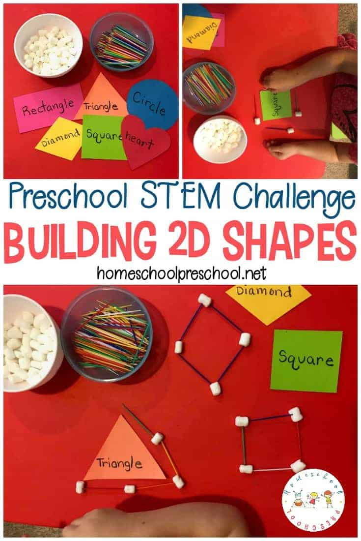 Incorporate STEM into your homeschool preschool lessons. Kids will enjoy building shapes with marshmallows and toothpicks for hands-on math practice.