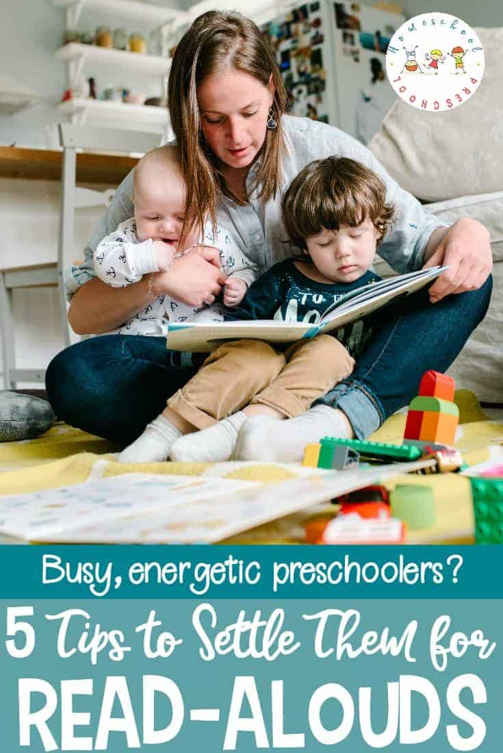 Are you trying to read aloud to a wiggly preschooler? Here are a few awesome tips for reading aloud to energetic preschoolers who just can't hold still.