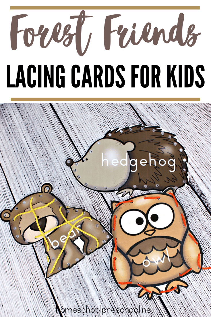 This set of forest animal printable lacing cards for preschoolers is perfect for practicing fine motor skills or beginning sewing practice.