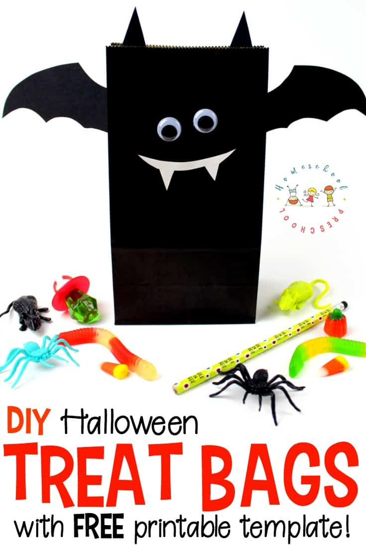 Gear up for your Halloween parties and celebrations with these DIY bat-themed Halloween treat bags with a free printable template!
