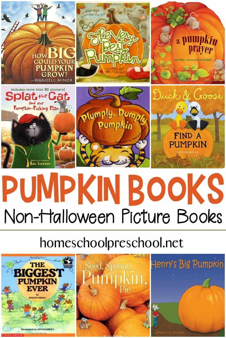 Here is a fun list of pumpkin books for preschoolers that are not Halloween related. They're perfect for the entire fall season!