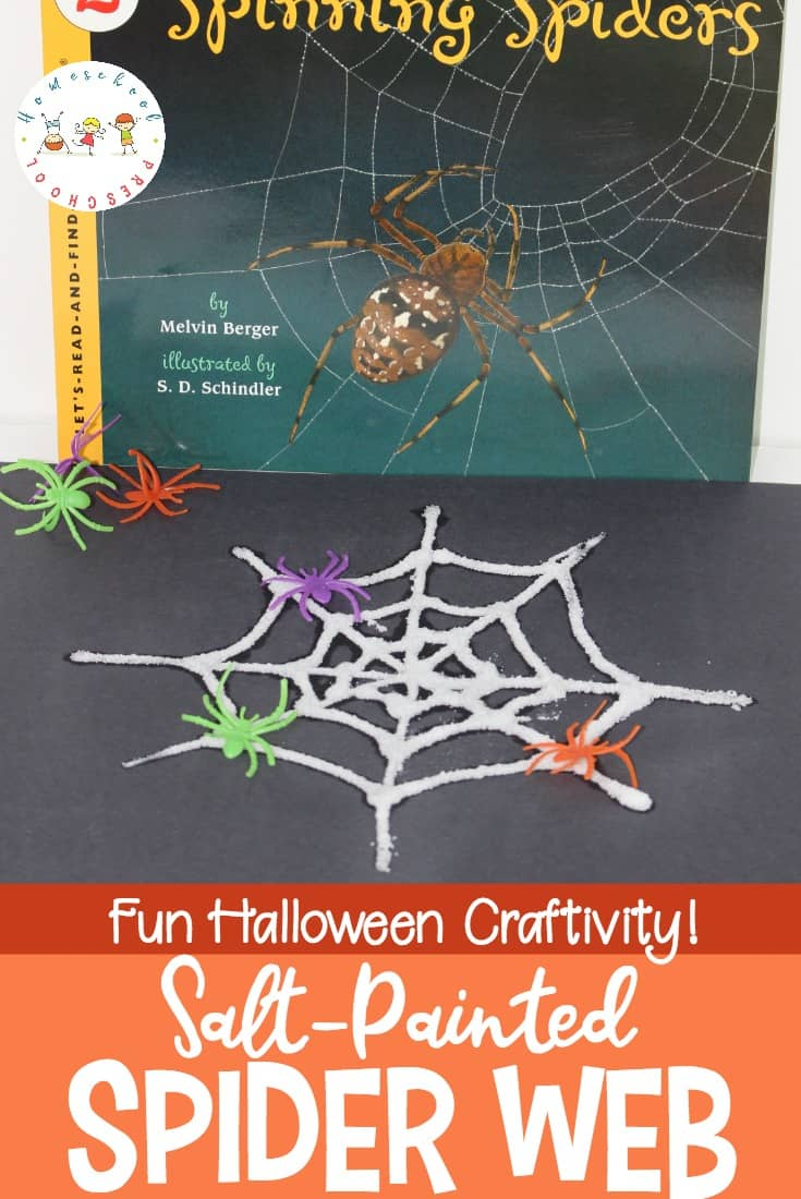 Discover a great nonfiction spider book for kids, a fun salt painted spider web craft, and a spider-themed math printable! Perfect for your October homeschool preschool.