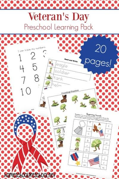 This simple Veterans Day preschool unit study is a great resource for teaching your little ones about the holiday, the history behind it, and how we can honor our veterans.