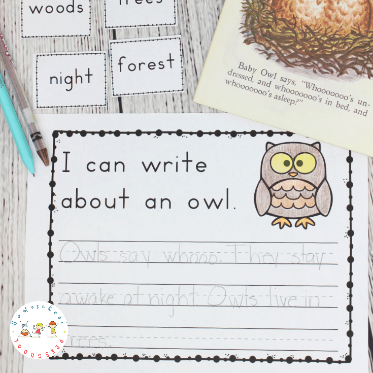 Encourage young students to write about their favorite forest animals when you add forest animal writing prompts to your writing center.