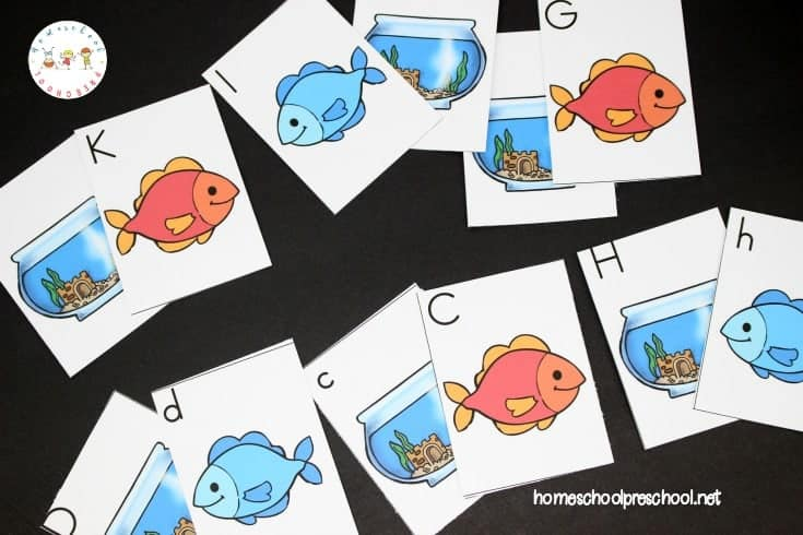 Have fun with these One Fish Two Fish printable alphabet matching cards! Preschoolers will work on letter identification and matching.