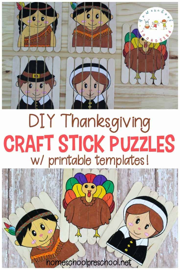 Learn how to make Thanksgiving puzzles out of popsicle sticks! These are easy popsicle stick puzzles for kids to make.