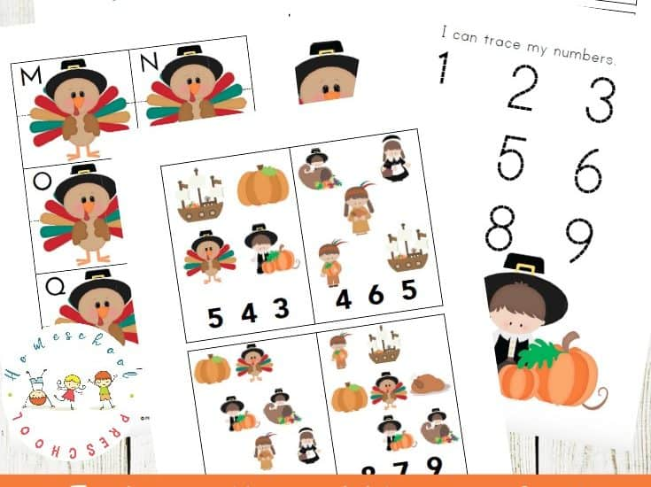 This pack of Thanksgiving printable activities was designed with your preschoolers in mind. Little ones will focus on early math and literacy skills with these fun activities.