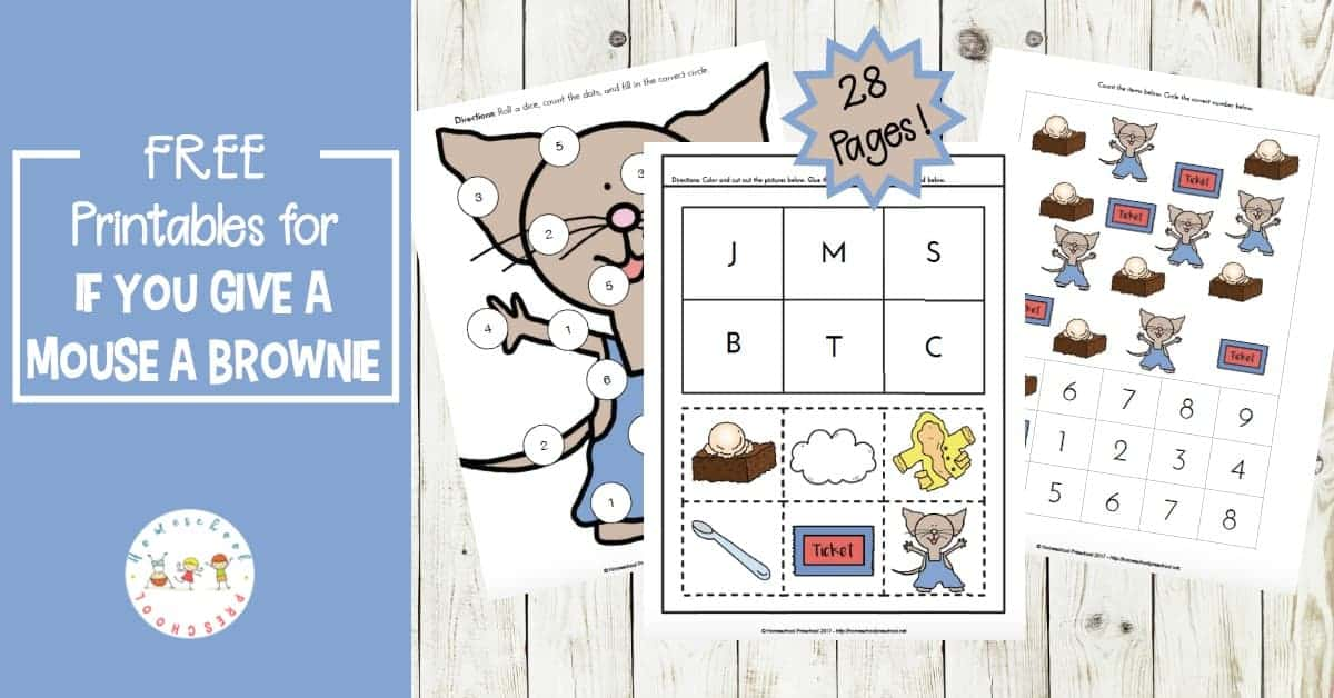 If you give your little ones these learning activities they are sure to have tons of fun! Come discover these If You Give a Mouse a Brownie printables.