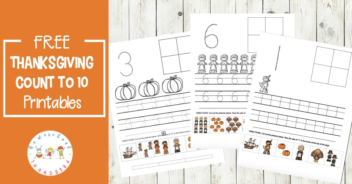 Your preschoolers will love practicing counting to ten with these Thanksgiving preschool number worksheets. Add them to your holiday math centers!
