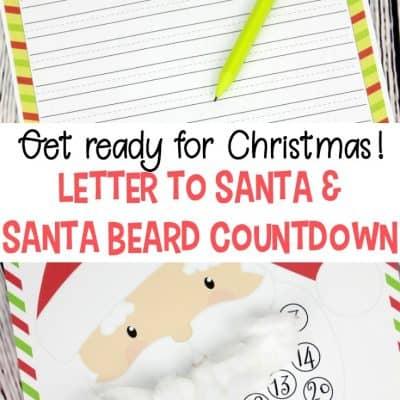 Printable Christmas Countdown and Letter to Santa