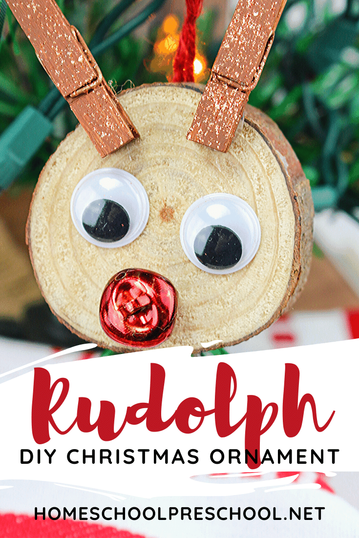 Get kids in the holiday spirit with these adorable Rudolph ornaments they can make all on their own! Decorate your Christmas tree or give them as gifts.