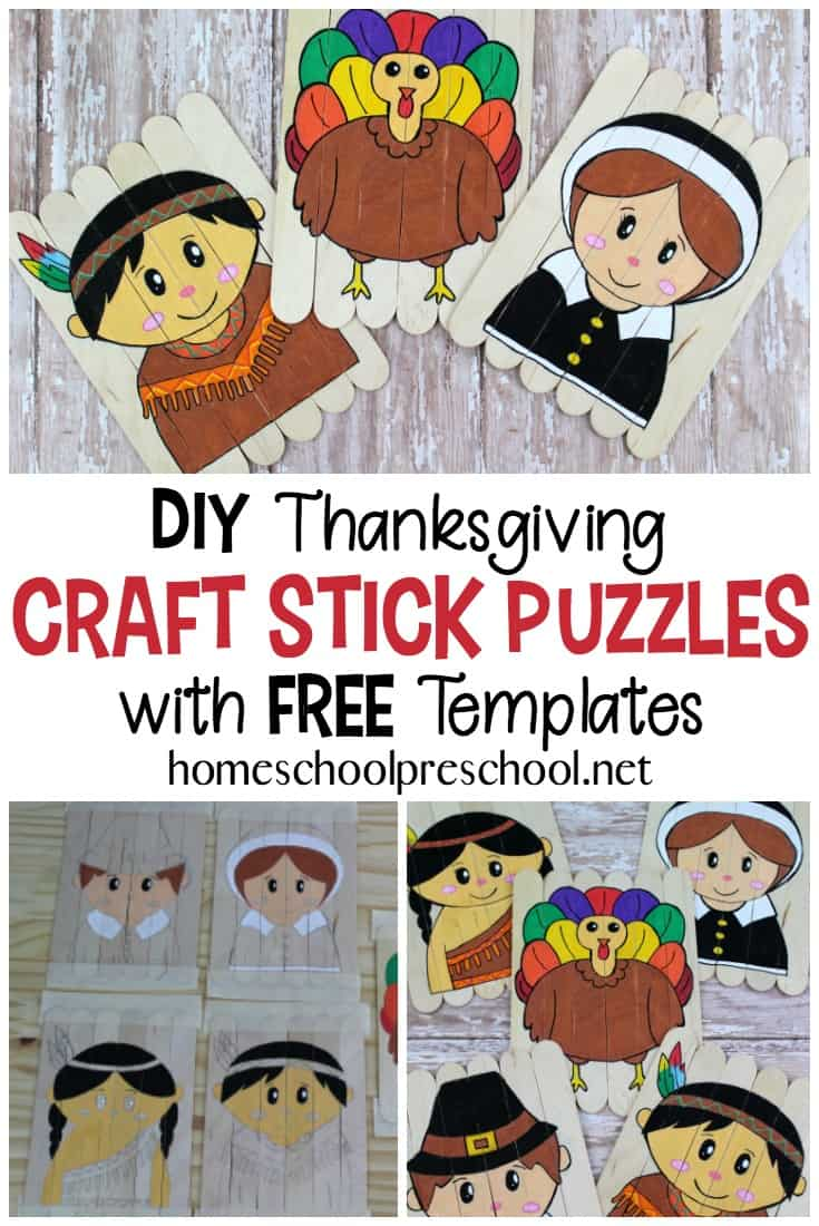 Learn how to make Thanksgiving puzzles out of popsicle sticks! These are easy popsicle stick puzzles for you to make for the kids.