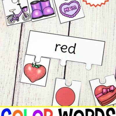 Printable Color Words Puzzles for Learning Color Words