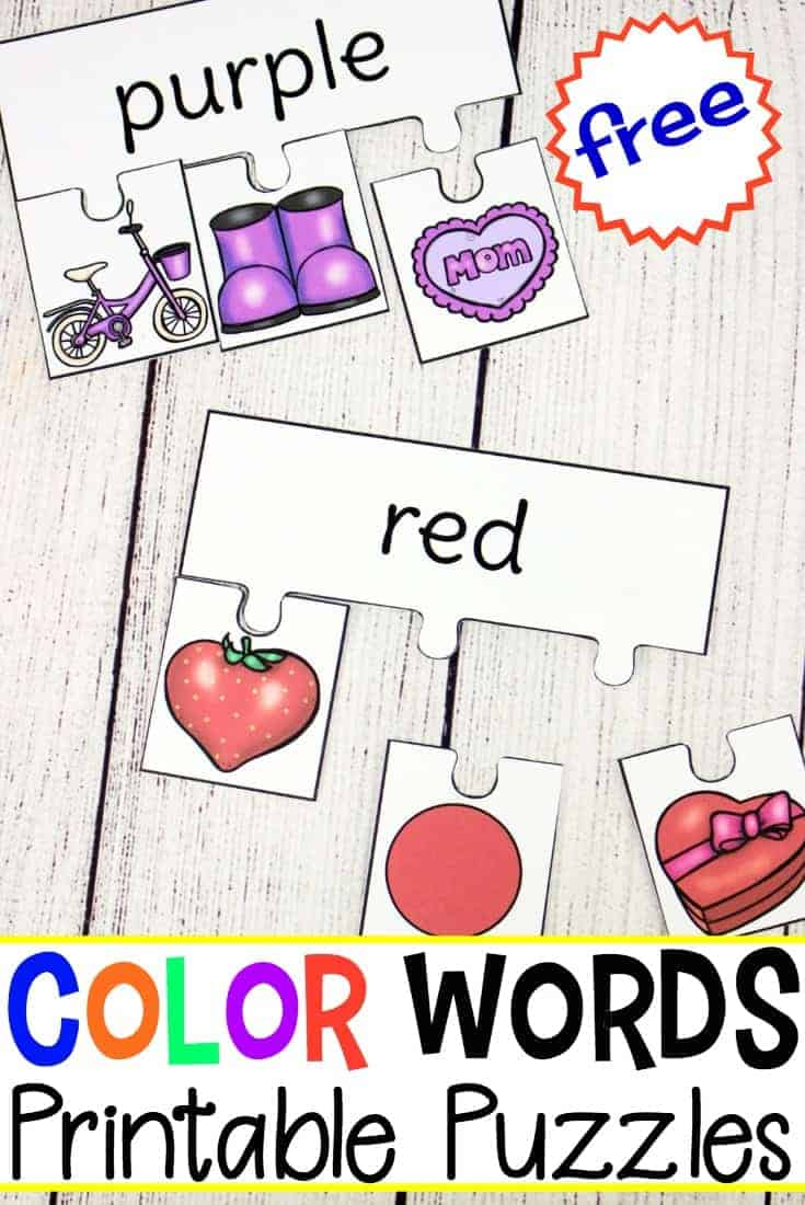 This set of printable color words puzzles is perfect for learning color words. Learners will assemble puzzles matching each item to the correct color word.