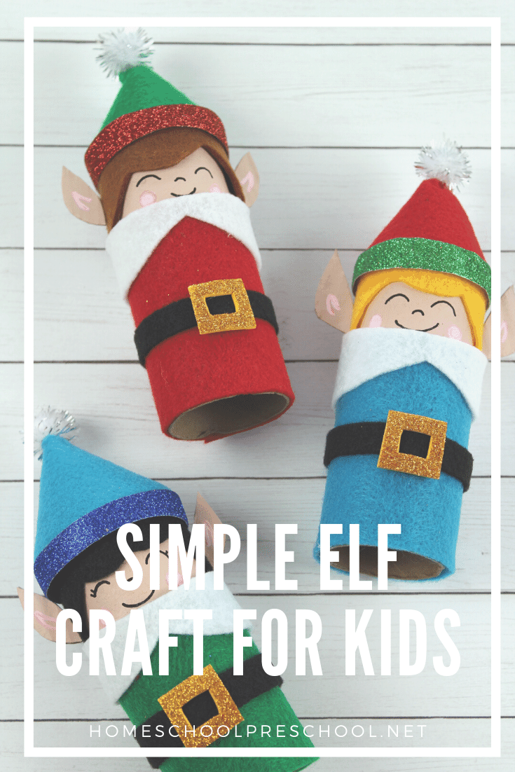Christmas crafts don't get any easier than this elf craft for kids! With a cardboard tube base and a handful of simple supplies, kids can whip them up fast.
