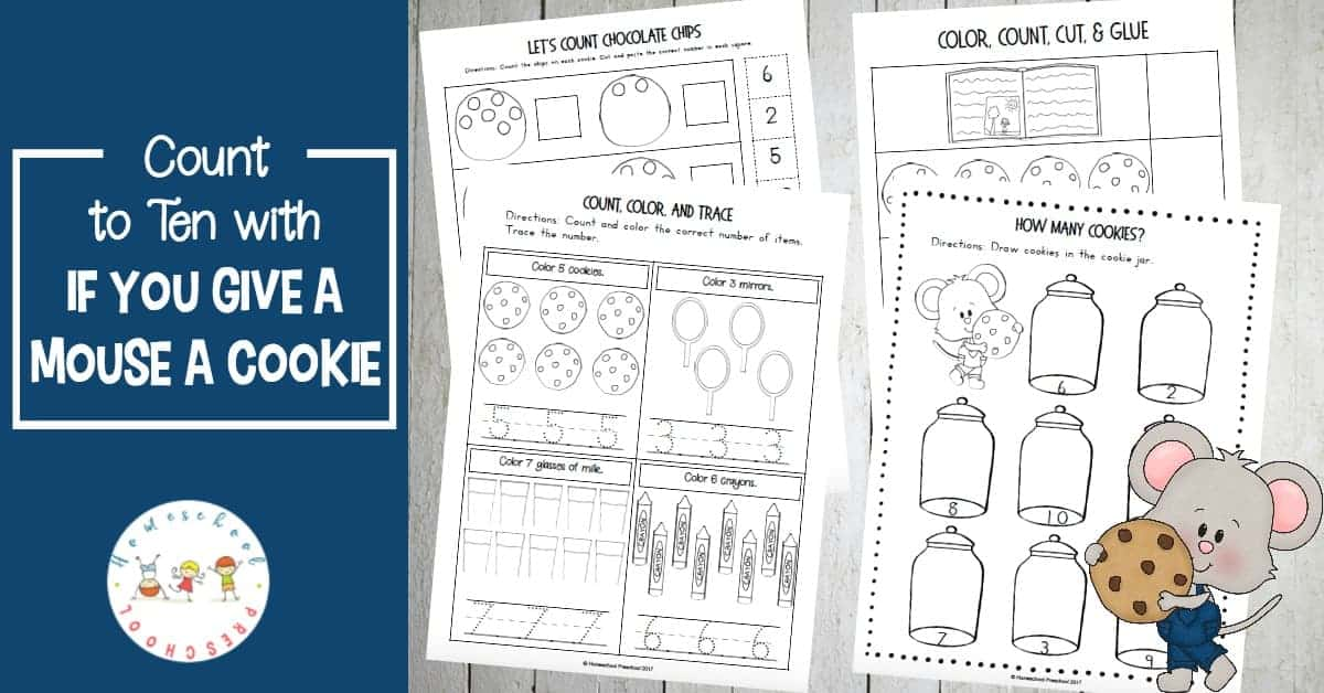 Preschoolers will practice counting to ten in this pack of If You Give a Mouse a Cookie counting activities. Add these fun activities to your math centers!