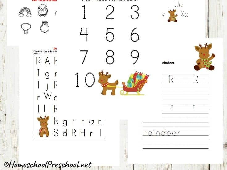 Keep preschoolers engaged this holiday season with this set of preschool reindeer printable math and literacy activities. Perfect for December preschool centers!