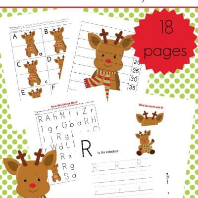 Preschool Reindeer Printable Math and Literacy Activities
