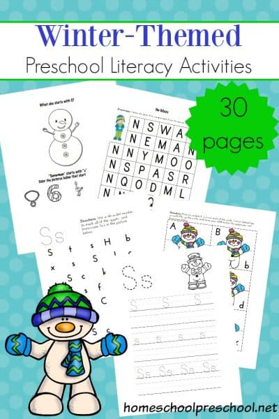 Preschoolers will work on letter recognition, handwriting, phonics, and more in these engaging, printable winter literacy activities!